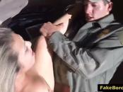 Border agent arrests slutty babe, strip search her and fucks her hard inside the jeep