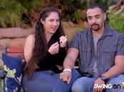 Swinger partners get to know one another in a sexy foreplay