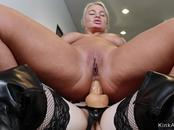Teen with strap on cock anal fucks mom