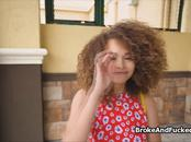 Braless busty ebony teen blows stranger
