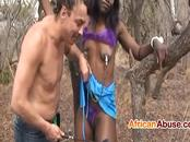 Extremely cock hungry african babe sucks cock in the woods