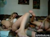 Lesbians night stay and fun with dildo