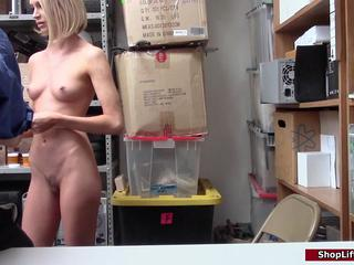Petite blonde caught stealing then fucked by officer