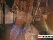 Euro slut indulges on fetish playing as she gets pissed on