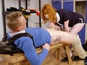 Redhead schoolgirl teen bounces her big ass on a new student
