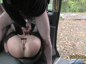 Bitch got her ass nailed in taxi