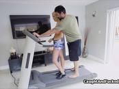 Big tit blonde banged on treadmill by voyeur