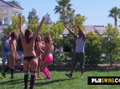 Naughty wives strip down as they foreplay in the backyard