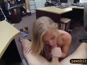 Blonde bitch pawns her vagina and fucked by pawn keeper