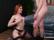Randy looker gets cumshot on her face sucking all the load