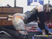 Busty Slut Takes Double Dildo Machine Sex