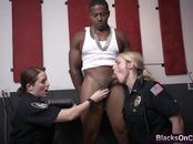 Two horny and nasty police girls fucked hard by big black cock