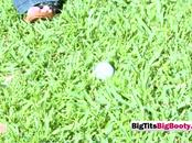 Golf practice ends with players balls sucked by chick with big titties