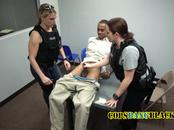 Nasty cops oblige suspect into fucking their kinky pussies