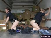 Maggie Green and Joslyn cum like crazy while riding huge black dong in back of truck