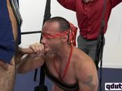 Blindfolded stud blowing long dong in office