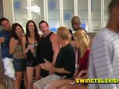 The Swinger Mansion invites horny couples to a big party that ends fucking and swapping their couple