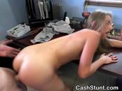 Bent Over Brunette Fucked And Facial During Cash Stunt