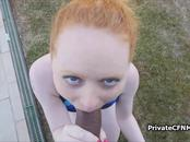 Ginger bikini teen blows instructors dark meat