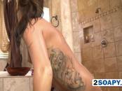 Big black penis in shower handled by warm hands