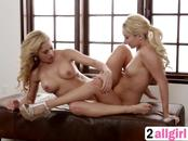 Lesbian massage action with two beautiful blonde babes Aaliyah Love and Cherri Deville