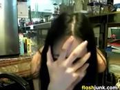Cute Girl Flashing At Work
