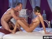 Busty brunette European babe comes for a massage and gets her sweet shaved pussy banged