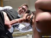 Julia De Lucia anal toyed and pounded real hard by nerd man