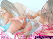 Sweet tranny Kelly Klaymour and Cherry Torn love to stretch their tight hole