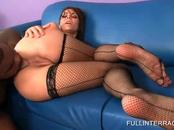 Hottie in stockings gets cunt banged black