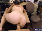 Ex-dominatrix pawns her equipment and fucked by pawnkeeper
