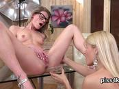 Pretty lesbian girls get sprayed with piss and squirt wet slits