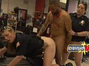 Rock hard black dude knows how to creampie round MILF cops