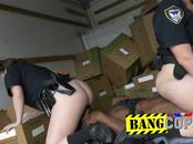 Busty cops love interracial action during work
