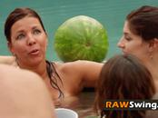 Couples swap partners in passionate orgy adventure. New episodes of Rawswing.com available now.