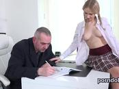 Natural schoolgirl gets teased and shagged by her senior mentor