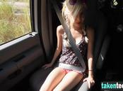Blonde girl forced to blow dick