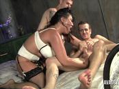 Ava Devine takes on two younger studs at once