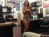 Slutty babe Layla London fucks a horny pawn guy for cash