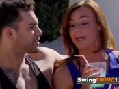 Chicks get a lap dance from enthusiastic couple by the poolside