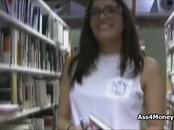 Latina coed fucks at library for cash
