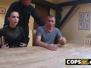 Hot European babe is trading sex for freedom with this horny officer.
