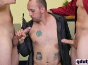 Three gay coworkers fuck in steamy threesome during break