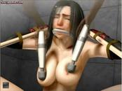 Tied up animated cutie gets rubbed