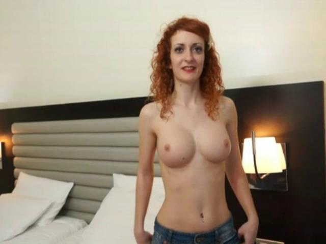 Made cock busty redhead creampie