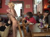Petite blonde dp banged in bar in public