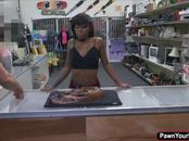 Petite ebony babe Lexxi sucking the pawnshop owners dick