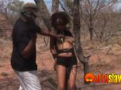 Interracial bondage and threesome outdoors