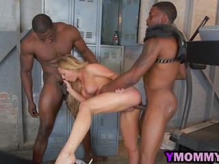 Busty blonde mommy Cherri Deville sucks black dicks and gets fucked