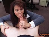 Huge boobs amateur brunette MILF fucked by pawn keeper